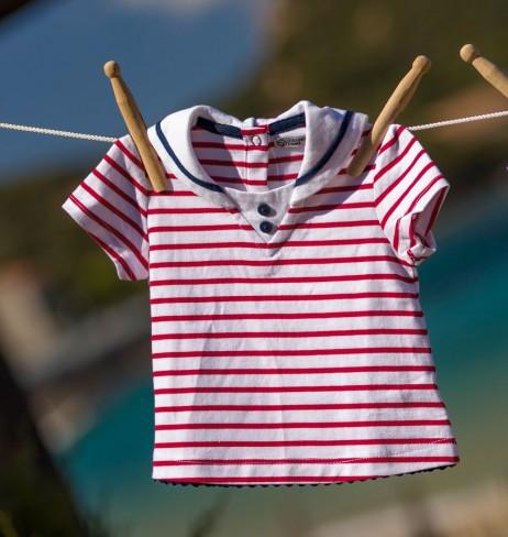 T-shirt bébé fille col marin