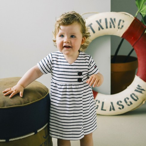Robe bébé blanc/marine