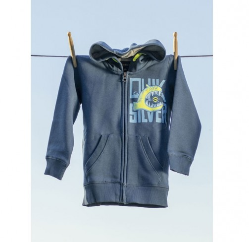 Sweat bleu zippe garcon co-brande Quiksilver
