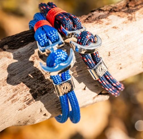 Bracelet ancre bleu roi