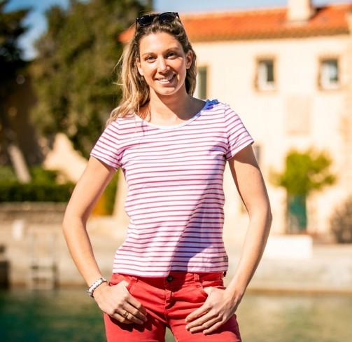 T-shirt femme lacet rose