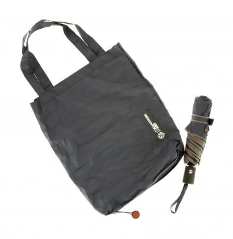Combi parapluie + sac shopping pliant